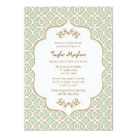 Mint Green Gold Moroccan Bridal Shower Invites 5&quot; X 7&quot; Invitation Card (<em>$2.16</em>)