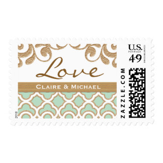 Mint Green Gold Moroccan Love Wedding Postage Stamp