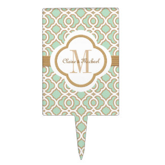 Mint Green Gold Moroccan Monogram Couples Cake Topper