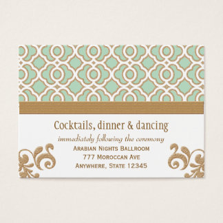 Mint Green Gold Moroccan Reception Enclosure Cards