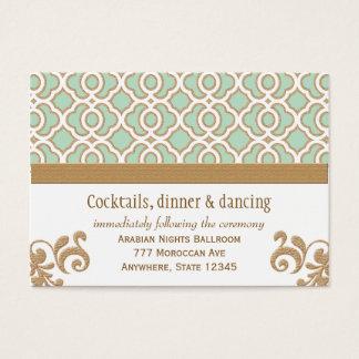 Mint Green Gold Moroccan Reception Enclosure Cards