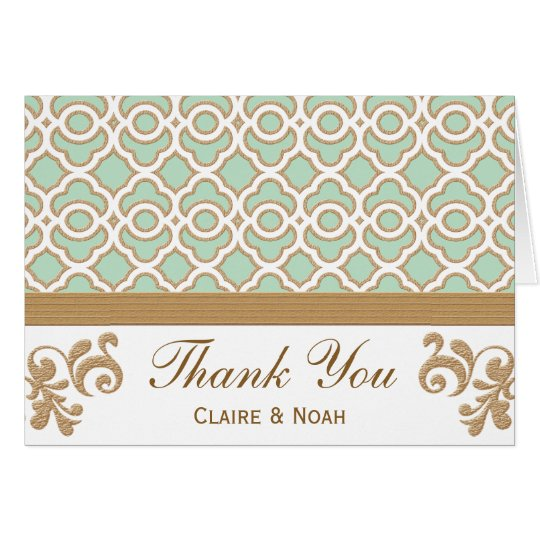 Mint Green Gold Moroccan Thank You Wedding Card