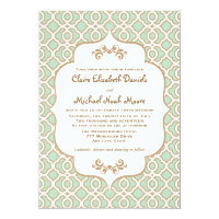 Mint Green Gold Moroccan Wedding Invitations