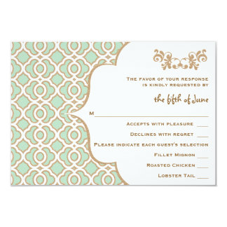 "Mint Green Gold Moroccan Wedding Response Cards 3.5"" X 5"" Invitation Card"