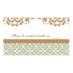 Mint Green Gold Moroccan Wedding Table Place Business Cards