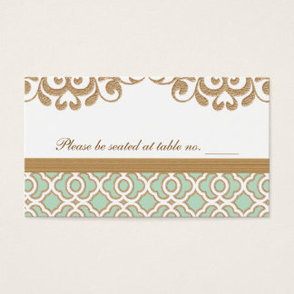Mint Green Gold Moroccan Wedding Table Place Business Card