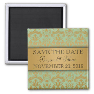 Mint Green & Gold Regal Damask Save the Date 2 Inch Square Magnet