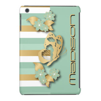 Mint Green & Gold Stripes with Butterfly & Flowers iPad Mini Covers