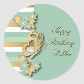 Mint Green & Gold Stripes with Butterfly & Flowers Classic Round Sticker