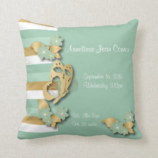 Mint Green & Gold Stripes with Butterfly for Baby Throw Pillow
