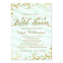 Mint Green & Gold Wedding Bridal Shower invitation