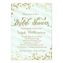 Beau Mint Green U0026 Gold Wedding Bridal Shower Invitation ...