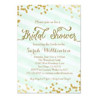 Nice Mint Green U0026amp; Gold Wedding Bridal Shower Invitation