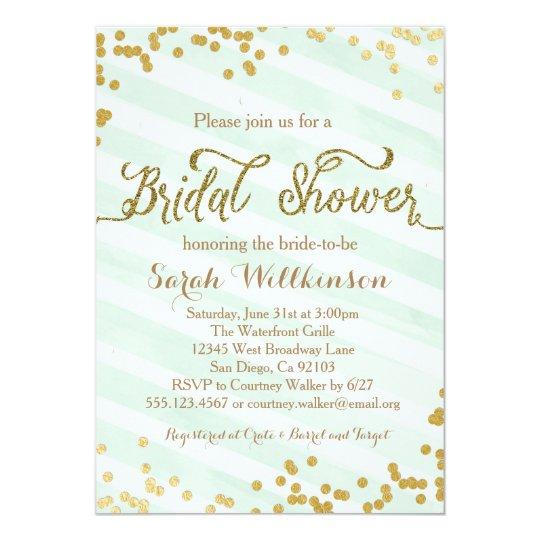 mint green gold wedding bridal shower invitation