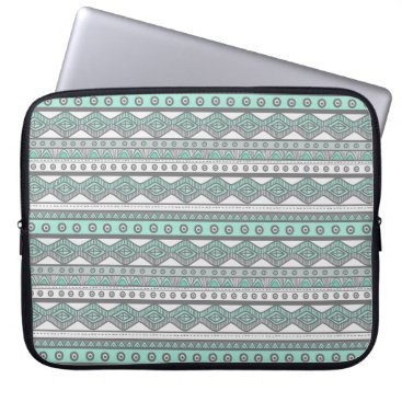 Aztec Themed Mint Green Gray Aztec Pattern Laptop Sleeve 15""