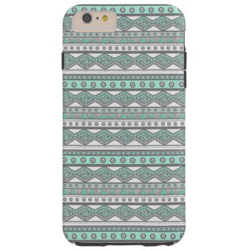 Aztec Themed Mint Green Gray Aztec Tough iPhone 6 Plus Case
