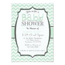 Mint Green Gray Chevron Baby Shower Invitation