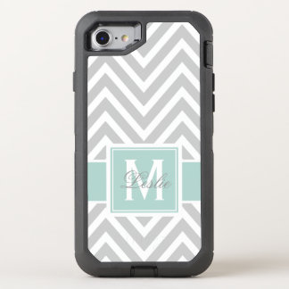 MINT GREEN, GRAY CHEVRON PATTERN OtterBox DEFENDER iPhone 8/7 CASE