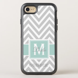 MINT GREEN, GRAY CHEVRON PATTERN OtterBox SYMMETRY iPhone 8/7 CASE