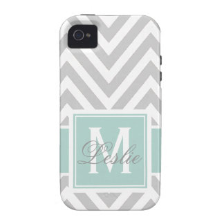 MINT GREEN GRAY CHEVRON PATTERN PERSONALIZED Case-Mate iPhone 4 CASE