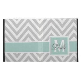 MINT GREEN, GRAY CHEVRON PATTERN PERSONALIZED iPad FOLIO COVERS