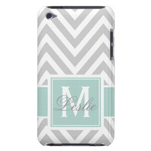 MINT GREEN, GRAY CHEVRON PATTERN PERSONALIZED BARELY THERE iPod CASE
