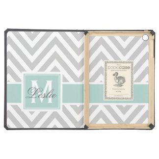 MINT GREEN, GRAY CHEVRON PATTERN PERSONALIZED iPad AIR COVER