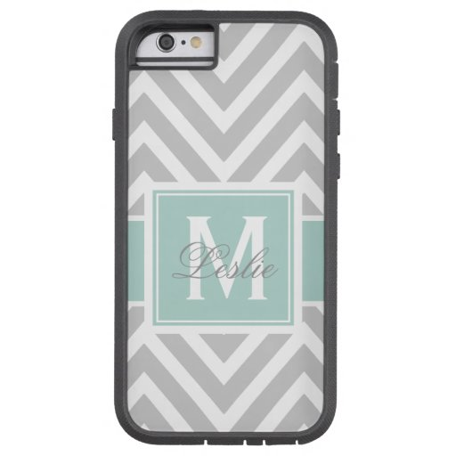MINT GREEN, GRAY CHEVRON PATTERN PERSONALIZED iPhone 6 CASE