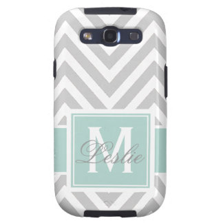 MINT GREEN, GRAY CHEVRON PATTERN PERSONALIZED SAMSUNG GALAXY S3 COVER