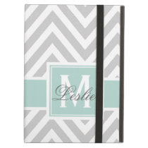 MINT GREEN, GRAY CHEVRON PATTERN PERSONALIZED CASE FOR iPad AIR