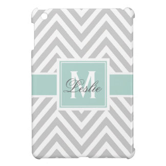 MINT GREEN, GRAY CHEVRON PATTERN PERSONALIZED COVER FOR THE iPad MINI