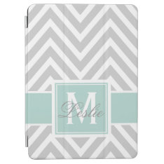 Mint Green, Gray Chevron Pattern Personalized Ipad Air Cover at Zazzle