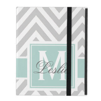 MINT GREEN, GRAY CHEVRON PATTERN PERSONALIZED iPad COVER
