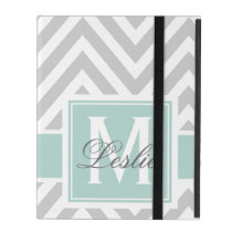 MINT GREEN, GRAY CHEVRON PATTERN PERSONALIZED iPad COVERS