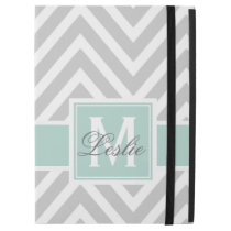 MINT GREEN, GRAY CHEVRON PATTERN PERSONALIZED iPad PRO CASE