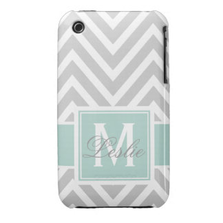 MINT GREEN, GRAY CHEVRON PATTERN PERSONALIZED iPhone 3 Case-Mate CASE