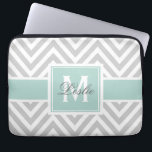 "MINT GREEN, GRAY CHEVRON PATTERN PERSONALIZED LAPTOP SLEEVE<br><div class=""desc"">GIRLY,  YET SOPHISTICATED,  GRAY AND WHITE CHEVRON ZIG ZAG STRIPED PATTERN,  PERSONALIZED WITH YOUR MONOGRAM INITIAL AND YOUR NAME WITH MINT GREEN ACCENT COLOR. ELKE CLARKE&#169; AVAILABLE AT WWW.ZAZZLE.COM/EPCLARKE</div>"
