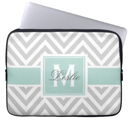 MINT GREEN, GRAY CHEVRON PATTERN PERSONALIZED LAPTOP COMPUTER SLEEVE
