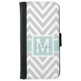 MINT GREEN, GRAY CHEVRON PATTERN PERSONALIZED iPhone 6 WALLET CASE