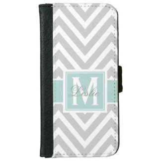 MINT GREEN, GRAY CHEVRON PATTERN PERSONALIZED WALLET PHONE CASE FOR iPhone 6/6S