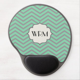 Mint Green Gray Chevron Patterned Monogrammed Gel Mouse Mat