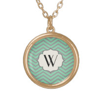 Mint Green Gray Chevron Patterned Monogrammed Gold Finish Necklace