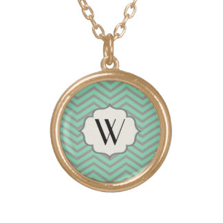 Mint Green Gray Chevron Patterned Monogrammed Pendant