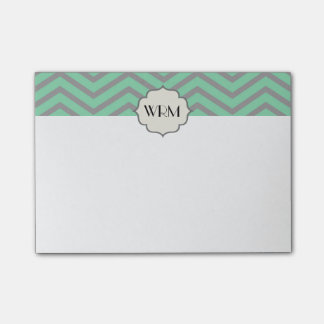 Mint Green Gray Chevron Patterned Monogrammed Post-it® Notes