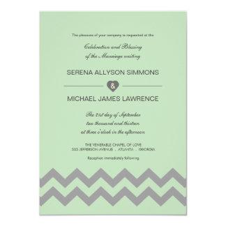 Mint Green & Gray Chevron Wedding Invitations