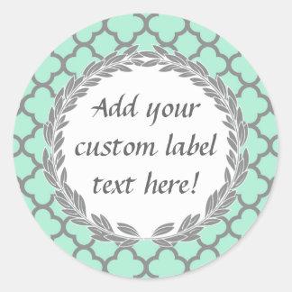 Mint Green Gray Custom Canning Jar Craft Label