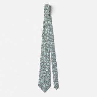 Mint-Green & Gray Floral Damasks Pattern Neck Tie