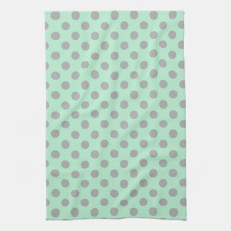 Mint Green Gray Girly Modern Polka Dots Pattern Hand Towel