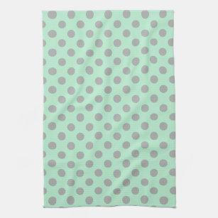 Mint Green Gray Y Modern Polka Dots Pattern Towel