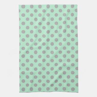 Mint Green Gray Girly Modern Polka Dots Pattern Towels